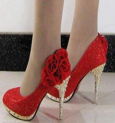 90663471b061 Sparkly Red Silettos fashion red shoes high sparkle stilettos spiked heel  Red Glitter