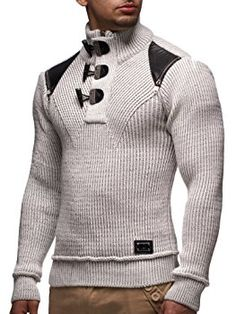 LEIF NELSON Men's Knitted Pullover Small Grey