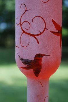 Etched Recycled narrow Wine Bottle Hummingbird by DeeLuxDesigns