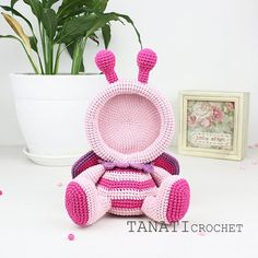 Hello everybody. I want to share the process of creating a new photo frame. I think you already guessed what kind of animal it is. Crochet Butterfly Pattern, Crochet Bunny, Crochet Home, Cute Crochet, Crochet Patterns, Mickey Mouse Picture Frames, New Photo Frame, Christmas Tree Toy, Butterfly Frame