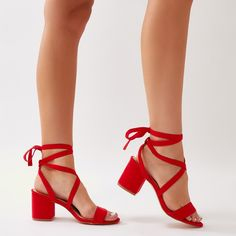 1c77f10ec4b Sophie Heeled Sandals in Red Faux Suede