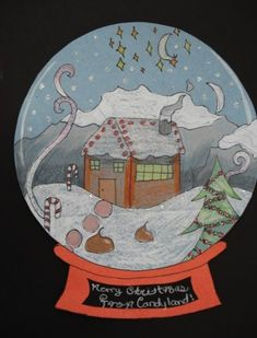 christmas art Am thinking of doing this as a last day of school craft. The scenes the kids come up with will be great - pretty sure Ill see some Star Wars Christmas scenes, hah. Classroom Art Projects, School Art Projects, Art Classroom, School Craft, Christmas Art Projects, Winter Art Projects, Winter Project, Christmas Crafts, 4th Grade Art