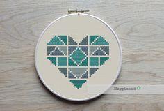 geometric modern cross stitch pattern heart small by Happinesst