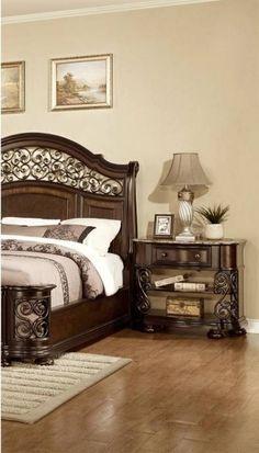 Mcferran Allison Espresso Finish Solid Hardwood Queen Size Bedroom Set 3 Pcs - Q Buy online! Wood Bedroom Sets, Modern Bedroom Furniture, Bed Furniture, Furniture Design, Bedroom Decor, Kitchen Furniture, Bedroom Ideas, Wood Beds, Headboards For Beds