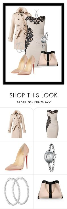 """New york chic"" by xan86 ❤ liked on Polyvore featuring Burberry, Lipsy, Christian Louboutin, Calvin Klein, See by Chloé and Miadora"