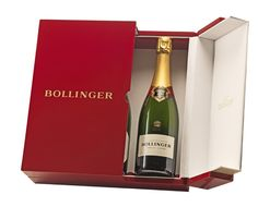 "A blood-red and gold ""centenary"" case, in pure modern lines. This is the very least Bollinger could do to celebrate the hundredth anniversary of its emblematic Special Cuvée champagne."