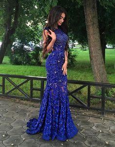 Blue lace mermaid long prom dress, blue lace evening dress, women fashion dress