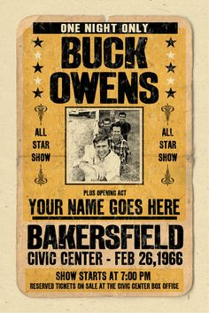 Items similar to Your Name on a Buck Owens concert poster digital heavy poster - you are the opening act on Etsy Buck Owens, Concert Posters, Music Posters, Star Show, Your Name, Great Bands, First Night, Country Music, Vintage Posters