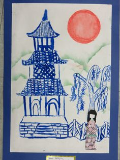 "3rd grade Japanese pagoda painting with origami doll, 12"" X 18""; lesson by art teacher: Susan Joe"