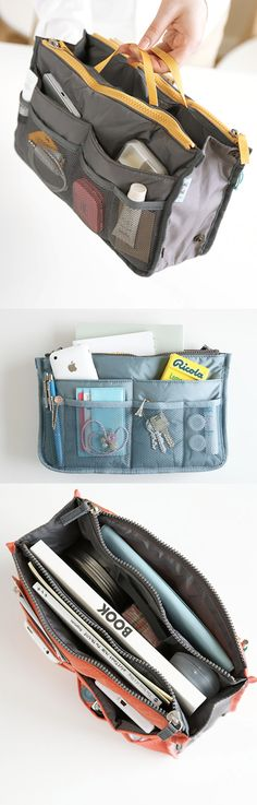 Store various daily items in the pockets and main compartment to keep your purse neat and tidy. The Dual Purse Organizer fits perfectly in a slim or larger purse with adjustable size using the buttons on the side!