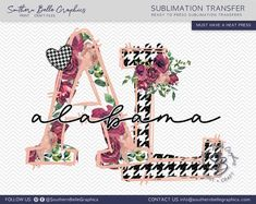 Alabama Floral, AL Doodle Letters Sublimation Transfer – Southern Belle Graphics Nurses Week Quotes, Doodle Lettering, Graphic Design Software, Doodle Designs, Cricut Creations, Southern Belle, Print And Cut, Watercolor Print, Alabama