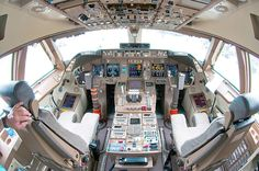 This is the flight deck of the new Boeing 747-8, the fourth generation of the original Jumbo Jet; and currently the longest, second largest overall, and longest-range passenger jet in the world