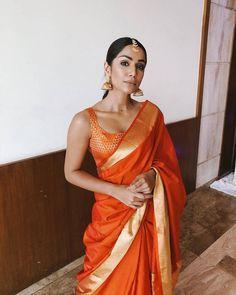 Desi girl Indian Saree CLICK Visit link for more info Lehenga Choli, Anarkali, Kanjivaram Sarees, Sabyasachi, Silk Sarees, Orange Saree, Modern Saree, South Indian Sarees, Indian Saris