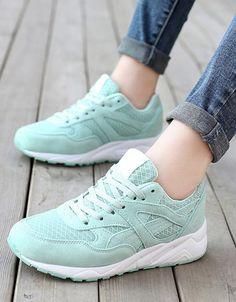 su yeşili rahat taban bağcıklı spor ayakkabı sk21495