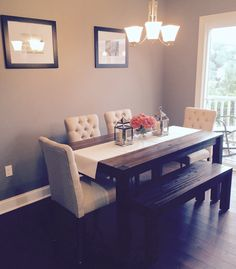 Dining room: Avondale (Macy's) table & bench with fabric chairs from Target. Kate Spade runner/Pottery Barn lanterns