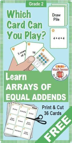 This set of 36 printable cards for Grade 2 will help students learn about arrays, important for multiplication in Grade 3. The set comes with a recording sheet and instructions for four fun games. Great for math centers!