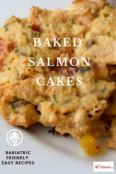 WLS Friendly Recipe for Baked Salmon Cakes - packed with protein, veggies and flavor! A very popular bariatric recipe from foodcoach.me - patients who have had Gastric Sleeve, Bypass, DS or band tend to love these. Salmon Recipes, Fish Recipes, Seafood Recipes, Recipies, Necterine Recipes, Chard Recipes, Dinner Recipes, Bariatric Eating, Bariatric Recipes