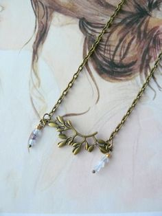 Collier Bohème Romantique,Feuillage, Perles de verre bleu,Métal Bronze : Collier par maj