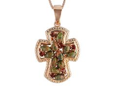 Timna Jewelry Collection(Tm)Mixed Unakite & 1.00ctw Vermelho Garnet(Tm)Copper Cross Enhancer W/Chain