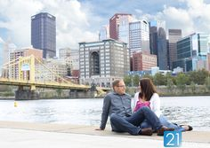 Downtown Pittsburgh serves as a stunning backdrop for this beautiful photo.