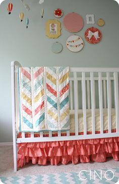 Love the chevron quilt and these colors are my favorite for a nursery-very gender neutral