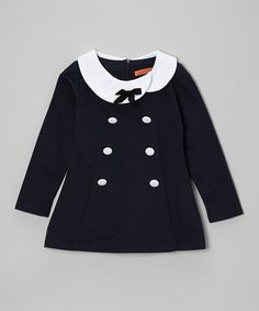 Love this Navy & White Button Bow Collar Tunic - Toddler & Girls on #zulily! #zulilyfinds