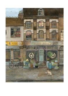 """""""Early Morning Blooms"""" Flower shop, bicycle, flowers and cat.This is an open edition, archival print of an original illustration by Rachel Grant."""