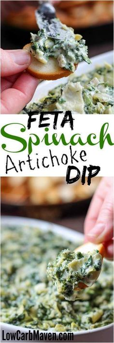 Feta Spinach Artichoke Dip is fast and tasty! | low carb, gluten-free, ketogenic, thm | LowCarbMaven.com: