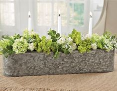 Floral and Candle Galvanized Trough – Farmhouse Fresh Home® - Modern Wood Box Centerpiece, Dining Room Centerpiece, Dining Room Table Centerpieces, Diy Centerpieces, Galvanized Trough, Trough Planters, Dining Table Decor Everyday, Everyday Centerpiece, Shabby Chic Farmhouse