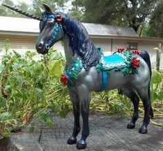"Custom carousel style unicorn from a Breyer model horse.  ""Old Rose"""