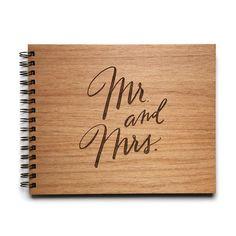 Mr. & Mrs. | beautiful rustic wood laser engraved wedding guestbook album
