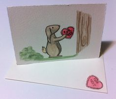 Valentine's Day Card Watercolour Mini Card by MonsterBirthdayParty, $8.00