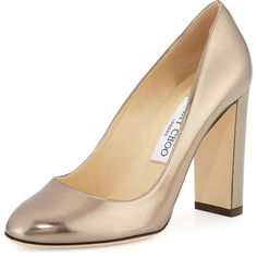 Jimmy Choo Laria Metallic 100mm Pump ($625) ❤ liked on Polyvore featuring shoes, pumps, pyrite, shoes pumps classic, slip-on shoes, pull on shoes, round toe pumps, metallic shoes and slip on pumps