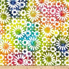 Indian Batik Cascades Daisy Bright Multi from @fabricdotcom  From Textile Creations, this Indian batik is perfect for quilting, apparel and home decor accents. Colors include red, orange, yellow, green, blue, purple, pink and white.