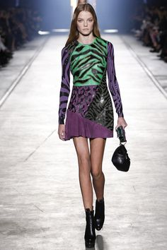 Versace | Spring 2016 Ready-to-Wear | 15 Purple/green printed leather/suede long sleeve mini dress
