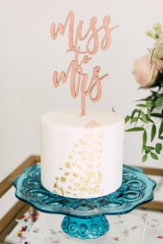 """Miss Mrs Bridal Shower Cake Topper (ONE) 5.5"""" Laser Cut Wood Cake Topper, Engagement Party Decor, Bachelorette Event Sign, Future Mrs"""