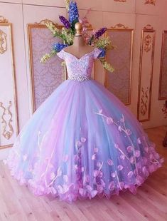 custom drsses Attractive Tulle Off-the-shoulder Neckline Ball Gown Evening Dresses With Lace Appliques & Handmade Flowers & Rhinestones · customdresskoko · Online Store Powered by Storenvy Pretty Quinceanera Dresses, Cute Prom Dresses, 15 Dresses, Ball Dresses, Pretty Dresses, Beautiful Dresses, Girls Dresses, Flower Girl Dresses, Gowns For Girls