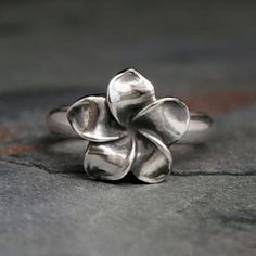 Plumeria Flower Ring, Sterling Silver, Hawaii Frangipani, Hawaiian Jewelry, Tropical Flower Blossom, Bloom
