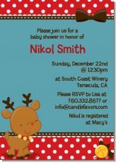 Rudolph the Reindeer - Baby Shower Invitations   Invitation and theme for a baby shower around christmas time!