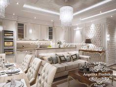 Линейная светло-бежевая классическая кухня выполнена в стиле модерн. Она имеет серый массивный фартук, белый шкаф и встроенную варочную панель. Кухня имеет открытую планировку и соединена с гостиной. Это вносит в интерьер несколько дополнительных моментов, и делает его менее монотонным. При этом визуально помещение выглядит более просторным.