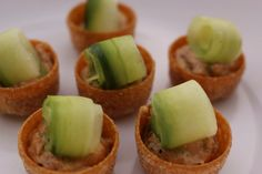 Canapes topped with siracha spiked salmon mousse
