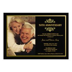 Custom Black and Gold Anniversary Invitation created by party_depot. This invitation design is available on many paper types and is completely custom printed. 60th Anniversary Parties, 50th Anniversary Invitations, 60th Birthday Party Invitations, 50th Birthday Cards, Zazzle Invitations, Anniversary Ideas, Golden Anniversary, Birthday Ideas, Birthday Gifts