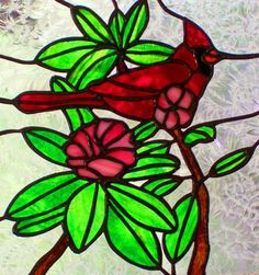 Cardinal and Rhododenron Stained Glass Panel #HAFshop #HAS #handmade