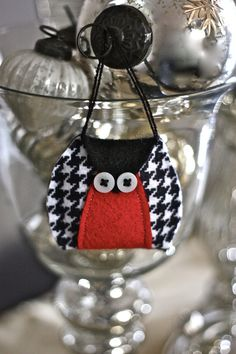 Black and White Houndstooth Couture Owl  Felt Owl by house129, $3.75