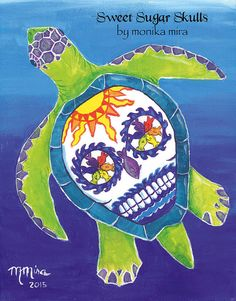Original Mexican Folk Art Style Day of the Dead Sugar Skull Sea Turtle Acrylic Painting