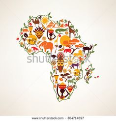 Africa travel map, decorative symbol of Africa continent with ethnic vector icons