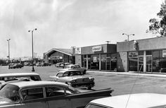 The Mason Avenue Shopping Center in Chatsworth is seen here in 1964. The plaza featured a Safeway grocery store; Cornet, Little Pigs Barbecue, Hull's Bakery, Chatsworth Travel Agency and a barber shop can also be seen in the photo. Photo Courtesy: Los Angeles Public Library/Herald-Examiner Collection