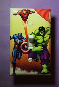 Avengers Captain America Hulk Iron Man Light Switch Cover Comic Book boys child kids Superhero room home decor bedroom by ComicRecycled on Etsy
