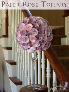 Paper Rose Topiary - Fun easy paper craft that makes a beautiful topiary! Madefrompinterest.net