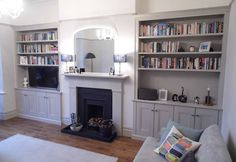 Portfolio - The Alcove Man Living Room Cupboards, Alcove Cupboards, Small Living Rooms, Living Room Designs, Alcove Storage, Victorian Living Room, Room Shelves, Moving House, Blue Walls